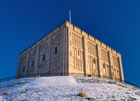England's most highly ornamented castle keep sitting atop England's largest castle mound. Norwich Castle was founded a few years after the nasty Norman Conquest of 1066 when poor Harry got it in the eye. That happened to me once